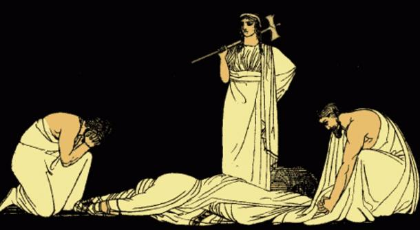The Assassination of Agamemnon illustration in Stories from the Greek Tragedians (1897), Alfred Church