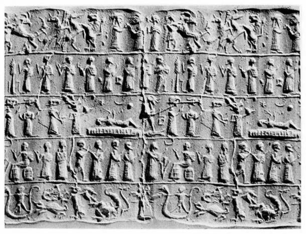 Assyrian Cylinder depicting an exorcism.