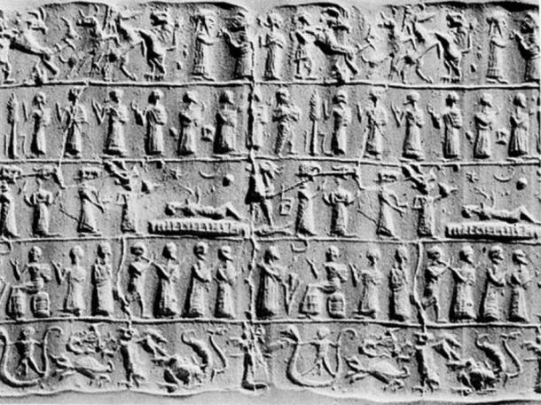 Assyrian Cylinder depicting an exorcism.