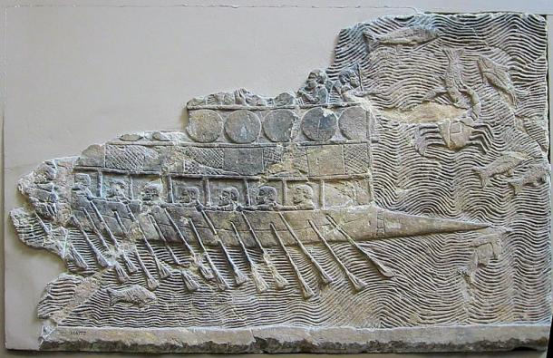 A seventh century BC relief of an Assyrian boat shows oarsmen.