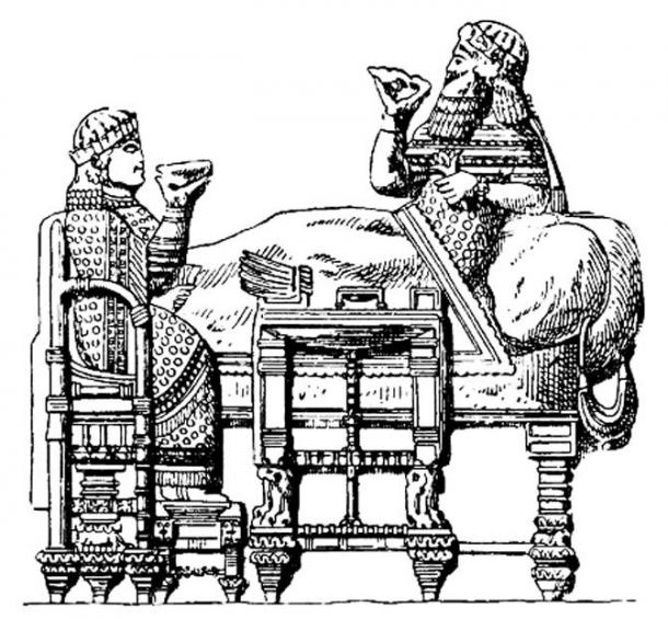 Assyrian furniture. King Esarhaddon's feast. After a relief from Nineveh.