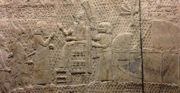 In the 8th century BC, Assyrian king, Sennacherib (pictured here in his throne) invaded Egypt at Pelusium, but was defeated