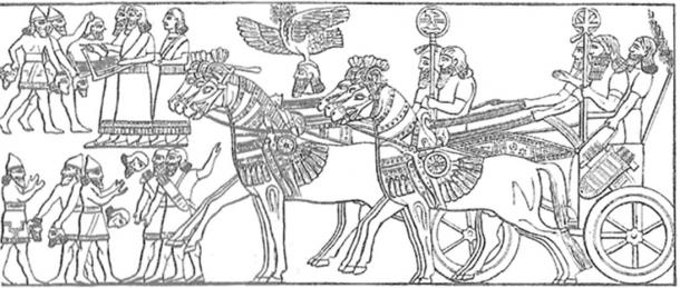Assyrian troops return after victory.