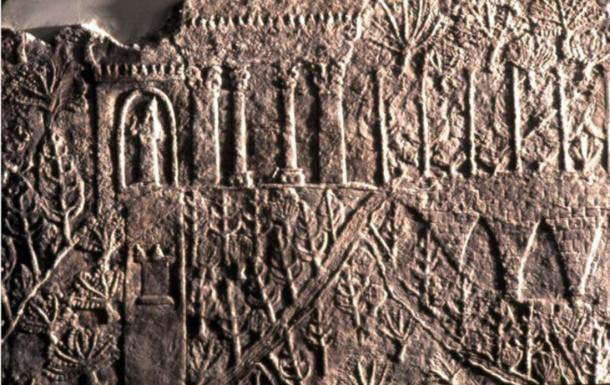 Assyrian wall relief showing garden in the ancient city of Nineveh. (Public Domain) Was this the real Hanging Gardens of 'Babylon'?