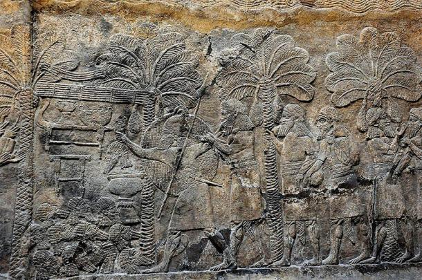 Assyrian military campaign in southern Mesopotamia, 640-620 BC, from an alabaster bas-relief located in the South-West Palace at Nineveh. (Osama Shukir Muhammed Amin / CC BY-SA 4.0)