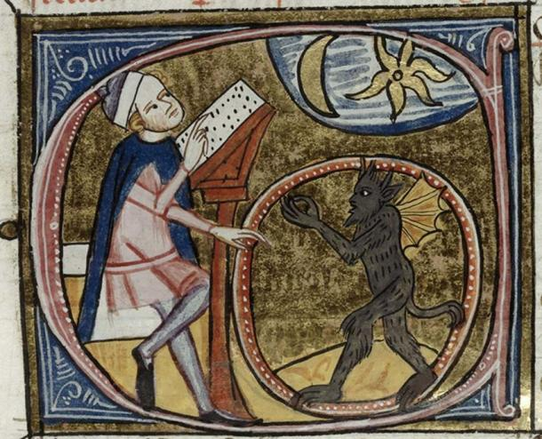 Astrologer and demon. British Library, Royal 6 E VI/2, f. 396v