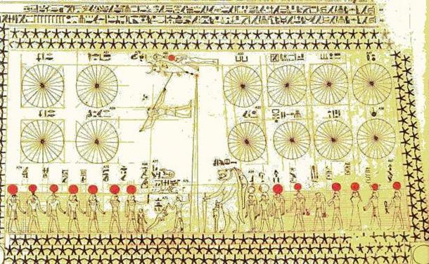 Bottom portion of Astronomical chart in the tomb of Senenmut.
