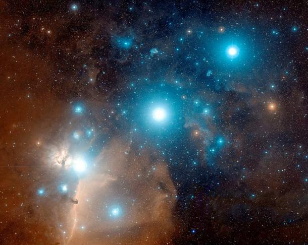 Astrophotograph of Orion's Belt.