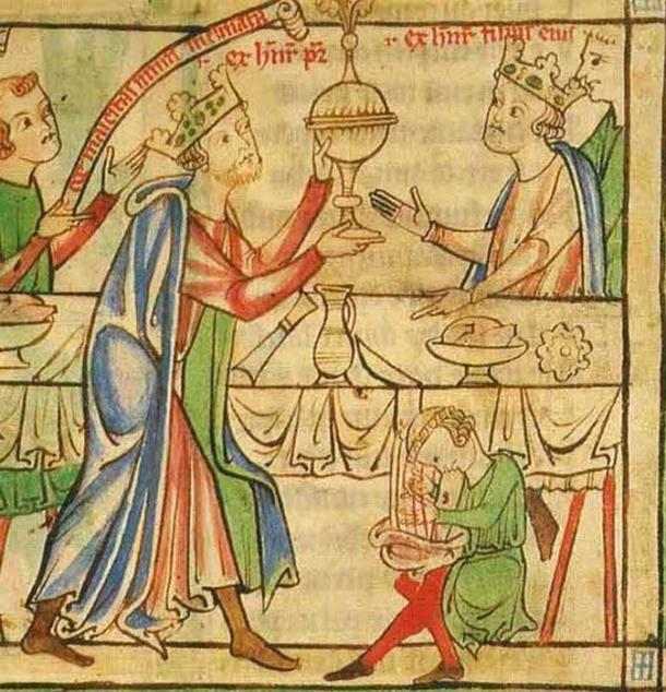 At his coronation banquet, the Young King is served by his father, King Henry II. (Public Domain)