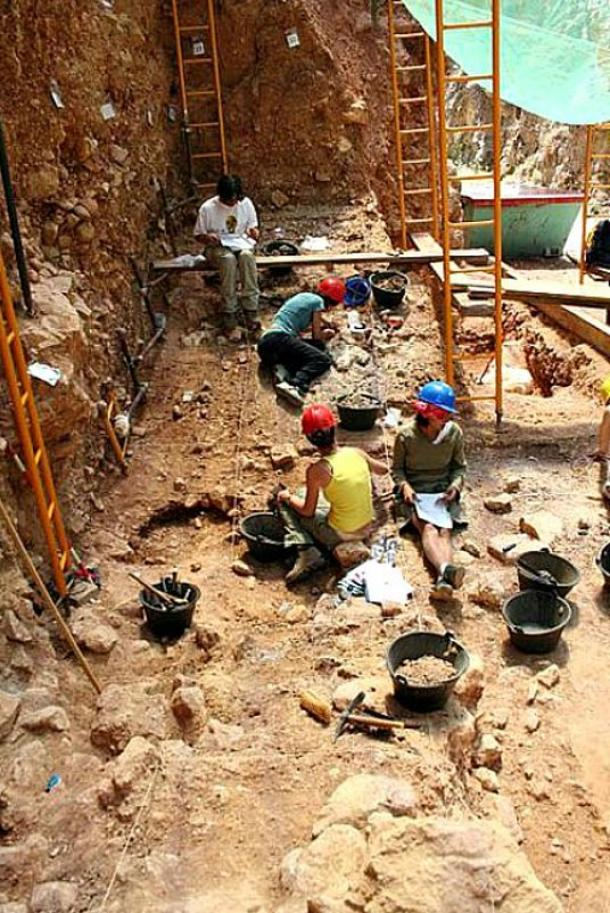 Members of the Atapuerca research team working on one of the sites.