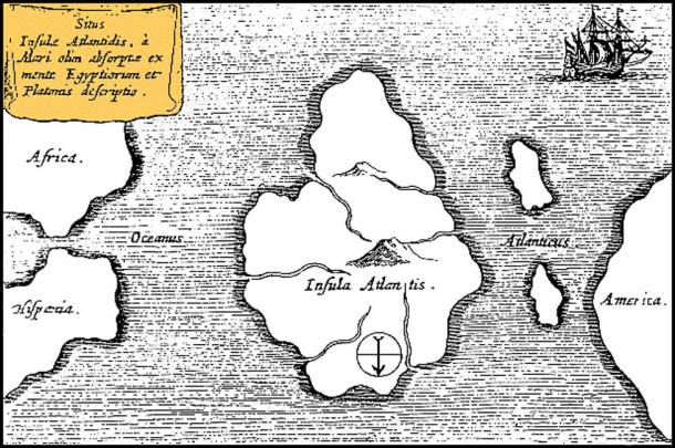 Athanasius Kircher's map of Atlantis, placing it in the middle of the Atlantic Ocean. From Mundus Subterraneus 1669, published in Amsterdam. The map is oriented with south at the top.