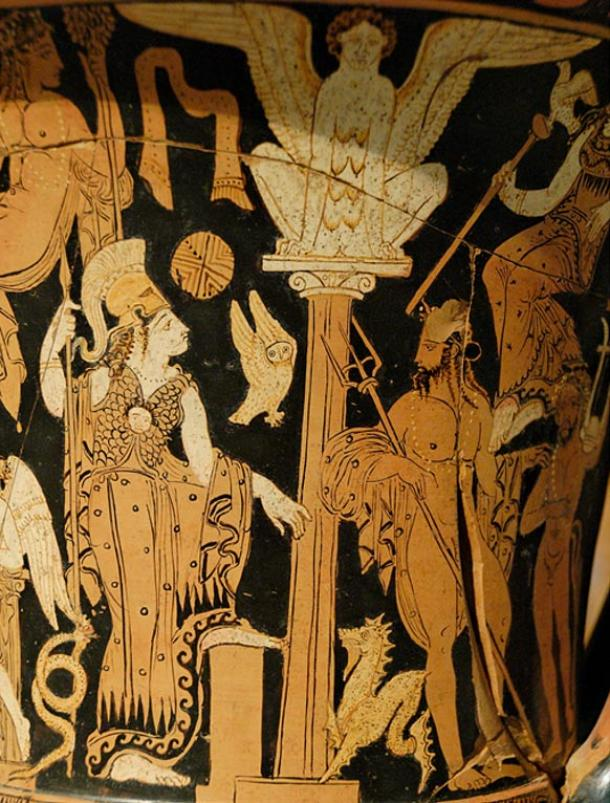 Athena and Poseidon on an ancient krater (jar).