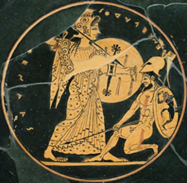 Athena, on left, fighting the giant Enceladus. (Bibi Saint-Pol / Public Domain)