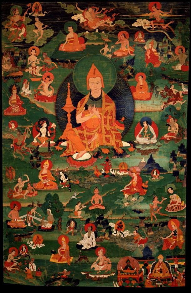 Atisha with Twenty-eight of the Eighty-four Mahasiddhas