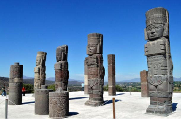 "Figure 2. Atlantes (Toltec warrior statues) at Tula, Hidalgo, known as ""place of the reeds."""