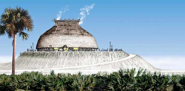 Atop a 30-foot-high shell mound, the Calusa constructed an expansive manor capable of holding 2,000 people, according to Spanish records. Fish stored in Mound Key's watercourts may have provided the food resources needed to complete the project. (Florida Museum / Merald Clark)