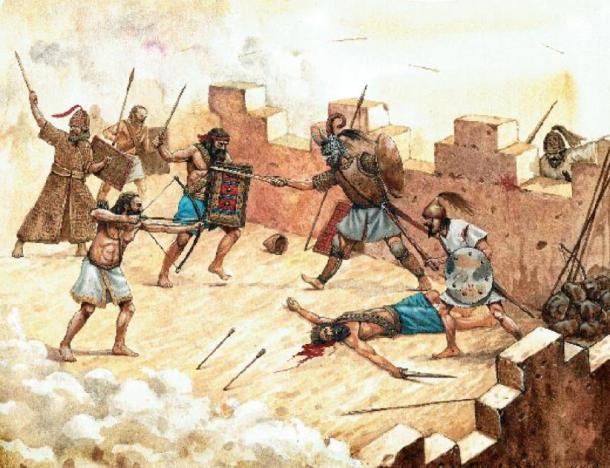 Attack of the Sea Peoples on Syrian fortification. Historical illustration. (Lunstream /Adobe Stock)