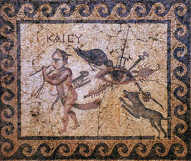 """Attacking the evil eye: The eye is pierced by a trident and sword, pecked by a raven, barked at by a dog and attacked by a centipede, scorpion, cat and a snake. A horned dwarf with a gigantic phallus crosses two sticks. Greek annotation """"KAI SU"""" meaning """"and you (too)"""". Roman mosaic from Antiochia, House of the Evil Eye."""