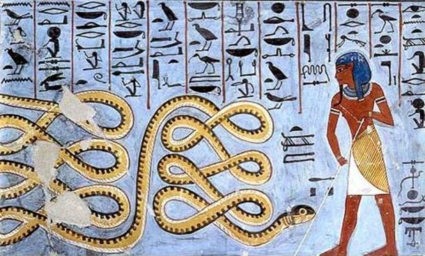 Atum and the snake Apophis.