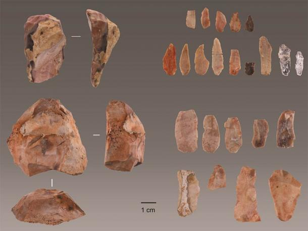 Aurignacian tools discovered in Lapa do Picareiro in central Portugal. (Jonathan Haws / University of Louisville)