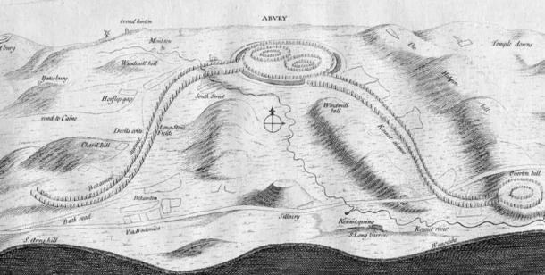 John Aubrey sketch of the entire Avebury complex and the enormous processional avenues that once led to it