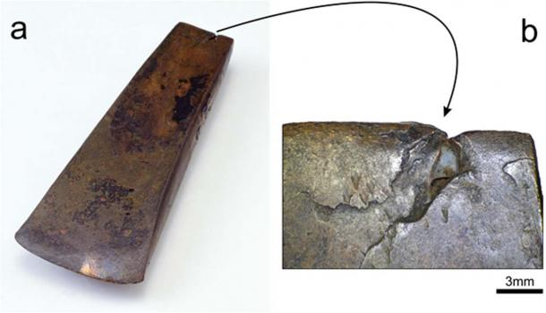 The Iceman Axe Blade. a) It is the oldest axe found complete with the copper blade, hide strips, birch tar, and handle made of yew wood, so that it has been carefully dated by radiocarbon methods