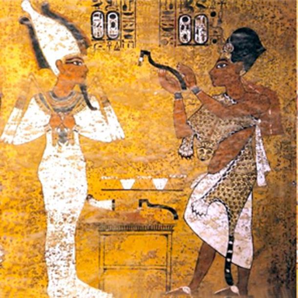 Ay performing the opening of the mouth ceremony for Tutankhamun, scene from Tutankhamun's tomb. (Nikola Smolenski / Public Domain)