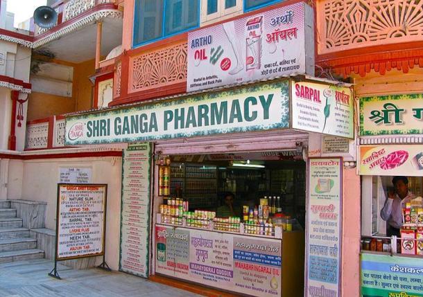 An example of an Ayurvedic pharmacy in Rishikesh, India.