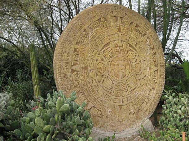 "Aztec calendar stone sculpture in Forest Lawn's ""Plaza of Mesoamerican Heritage"" (Image: CC BY-SA 3.0)"