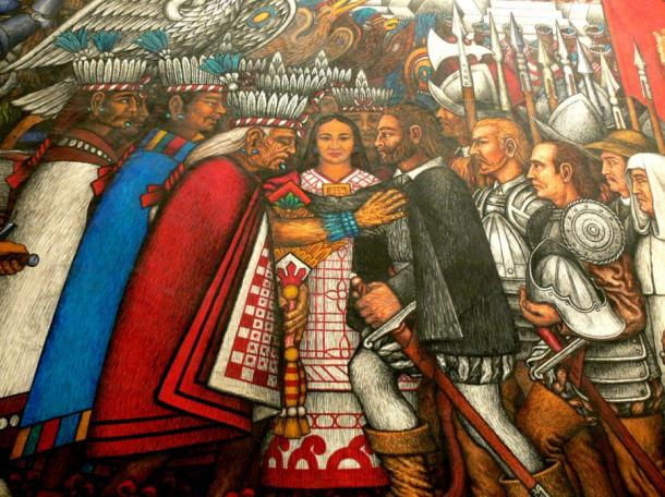 Aztec nemesis of Tlaxcala become allies with Spanish Conquistador thanks to La Malinche.