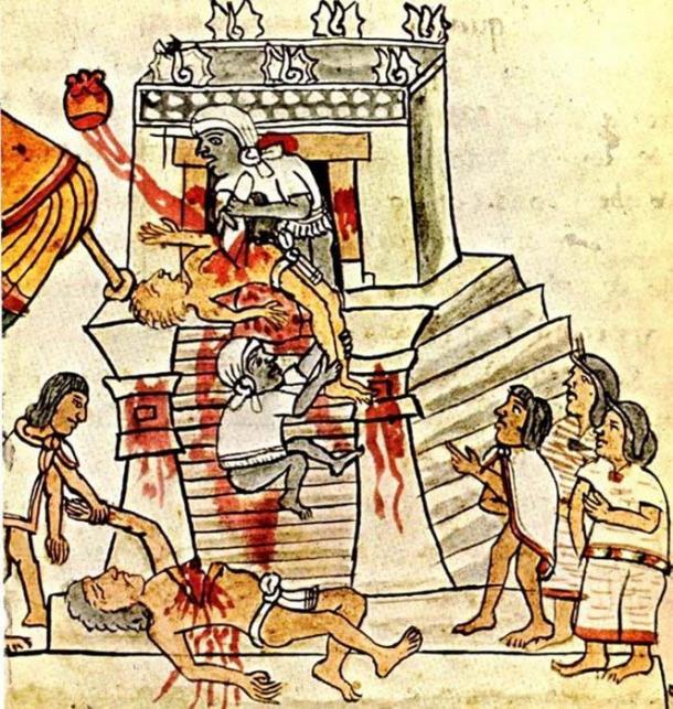 Aztec ritual human sacrifice portrayed on page 141 (folio 70r) of the Codex Magliabechiano. (Public Domain )