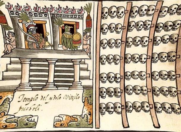 Illustration showing an Aztec skull rack.