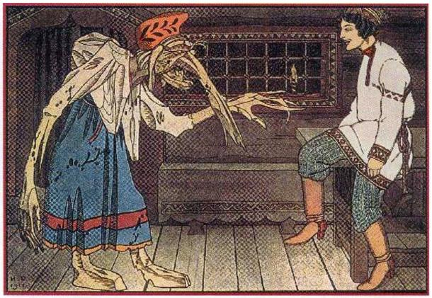 Illustration of a hag-like, long-nosed Baba Yaga of Slavic legend. 1911.