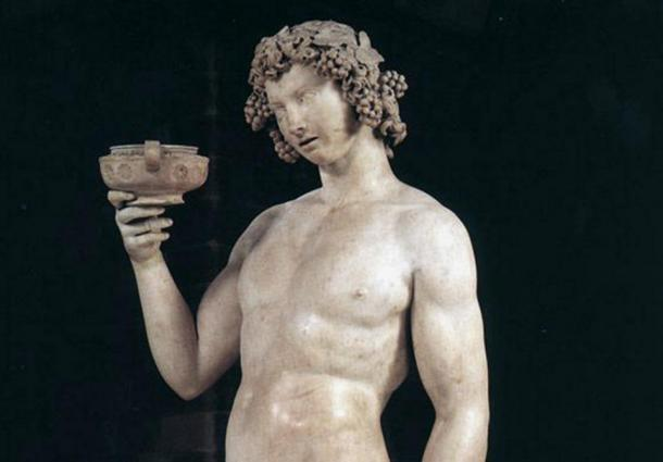 Detail; Bacchus/Dionysus by Michelangelo (1497)