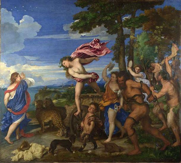 Bacchus(Dionysus) and Ariadne by Titian, at the National Gallery in London.