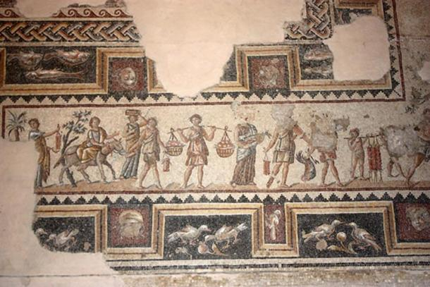 Mosaic depicting revelers and attendants of a Bacchus party, previously found at Sepphoris