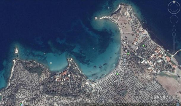 Google Earth image shows the general vicinity of the islands, near Bademli Village in Turkey on the Aegean Sea.