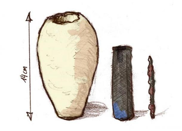 Right: An illustration of a Baghdad battery from museum artifact pictures.