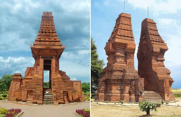 The Bajang Ratu Gate and Wringin Lawang, two examples of Majapahit Architecture, Trowulan, East Java, Indonesia