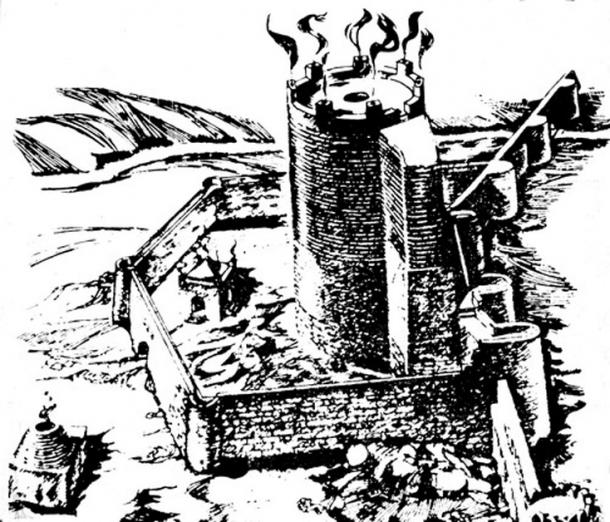 Baku's Holy Fire Temple- Tower (Maiden Tower), reconstruction by Davud Akhundov, The Architecture of Ancient and Early Medieval Azerbaijan, book, in Russian, Baku, 1986.