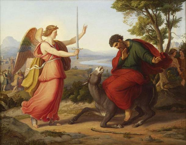 Balaam and the angel, painting from Gustav Jaeger, 1836. (Public Domain)