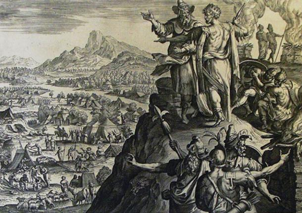 Balak (wearing a crown) with Balaam. (The Phillip Medhurst Picture Torah 580. Balak's sacrifices /CC BY-SA 3.0)