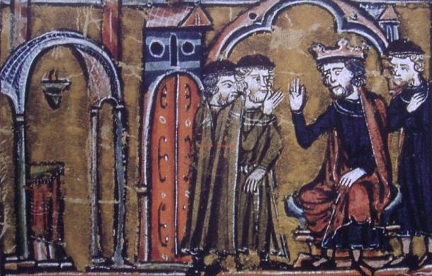 BaldwinII ceding the location of the Temple of Salomon to Hugues de Payns and Gaudefroy de Saint-Homer. The fourth person is Warmund, Patriarch of Jerusalem.