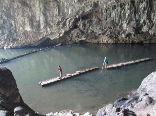 Bamboo rafts in Tham Lod cave, Thailand.