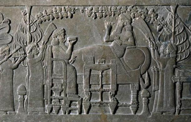 'The Banquet Scene' relief panel, 645BC-635BC. Credit: The British Museum