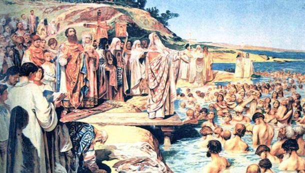 The Baptism and Christianization of Kievans, a painting by Klavdiy Lebedev. Painted Prior to 1916.