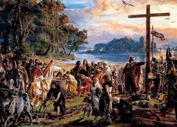 Baptism of Poland in 965. Artist Yain Mateyko, 1889.