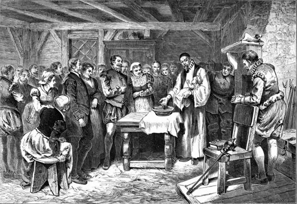 """""""The Baptism of Virginia Dare"""" is an 1876 etching by William A. Crafts showing the baptism of the first English child born in North America, at Roanoke. The fate of Virginia Dare and the rest of the Roanoke colonists is entirely unknown."""
