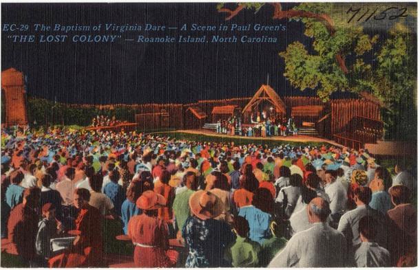 """The Baptism of Virginia Dare -- A scene in Paul Green's """"The Lost Colony"""" -- Roanoke Island, North Carolina (Boston Public Library / CC 2.0)"""