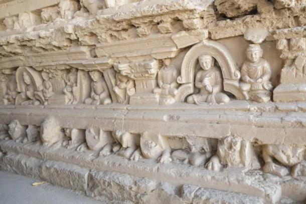 Bas-relief of Buddha and monks on the Stupa at Jaulian monastery, Taxila. (Sulo Letta / Adobe)